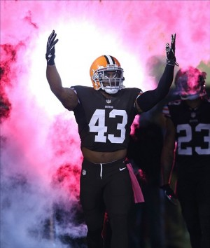 Oct 3, 2013; Cleveland, OH, USA; Cleveland Browns strong safety T.J. Ward (43) takes the field before a game against the Buffalo Bills during at FirstEnergy Stadium. Mandatory Credit: Ron Schwane-USA TODAY Sports