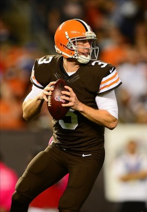 Oct 3, 2013; Cleveland, OH, USA; Cleveland Browns quarterback Brandon Weeden (3) drops back to pass during the third quarter against the Buffalo Bills at FirstEnergy Stadium. Mandatory Credit: Andrew Weber-USA TODAY Sports