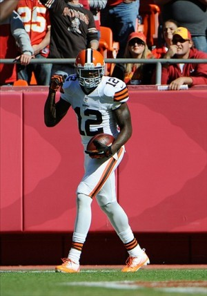 Oct 27, 2013; Kansas City, MO, USA; Cleveland Browns wide receiver Josh Gordon (12) celebrates after scoring a touchdown against Kansas City Chiefs in the first half at Arrowhead Stadium. Mandatory Credit: John Rieger-USA TODAY Sports