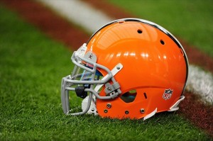 Dec. 18, 2011; Glendale, AZ, USA; Detailed view of a Cleveland Browns helmet sitting on the field against the Arizona Cardinals at University of Phoenix Stadium. The Cardinals defeated the Browns 20-17 in overtime. Mandatory Credit: Mark J. Rebilas-USA TODAY Sports