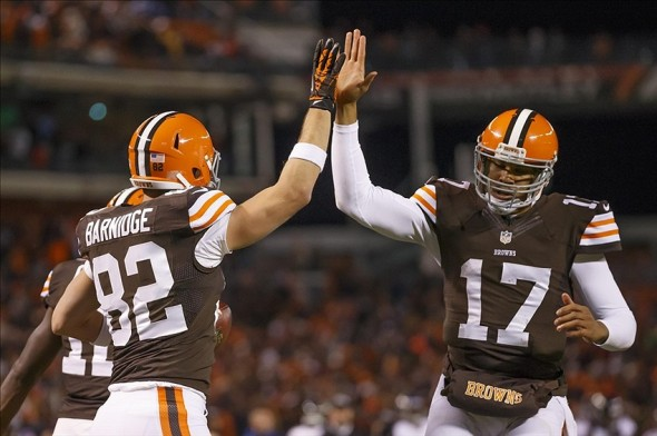 Nov 3, 2013; Cleveland, OH, USA; Cleveland Browns tight end Gary Barnidge (82) and quarterback Jason Campbell (17) celebrate the touchdown in the third quarter against the Baltimore Ravens at FirstEnergy Stadium. Mandatory Credit: Rick Osentoski-USA TODAY Sports