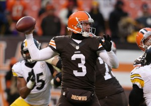 Nov 24, 2013; Cleveland, OH, USA; Cleveland Browns quarterback Brandon Weeden (3) throw against the Pittsburgh Steelers during the fourth quarter at FirstEnergy Stadium. The Steelers won 27-11. Mandatory Credit: Ron Schwane-USA TODAY Sports