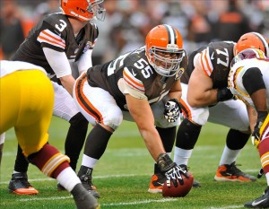 Dec 16, 2012; Cleveland, OH, USA; Cleveland Browns center Alex Mack (55) during a game against the Washington Redskins at Cleveland Browns Stadium. Washington won 38-21. Mandatory Credit: David Richard-USA TODAY Sports