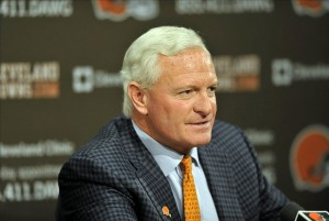 Jan 11, 2013; Berea, OH, USA; Cleveland Browns owner Jimmy Haslam III talks during a press conference at the team
