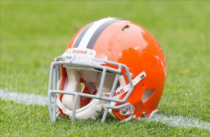 Oct 20, 2013; Green Bay, WI, USA; A Cleveland Browns helmet sits on the field during warmups prior to the game against the Green Bay Packers at Lambeau Field. Green Bay won 31-13. Mandatory Credit: Jeff Hanisch-USA TODAY Sports
