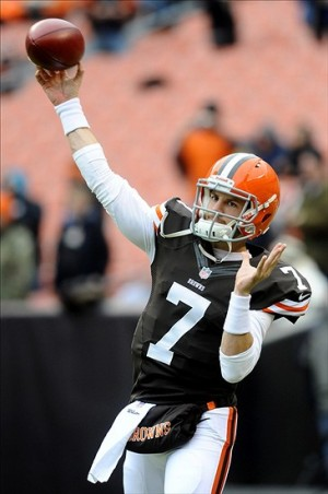 Dec 1, 2013; Cleveland, OH, USA; Cleveland Browns quarterback Alex Tanney (7) warms up before the game against the Jacksonville Jaguars at FirstEnergy Stadium. Mandatory Credit: Ken Blaze-USA TODAY Sports