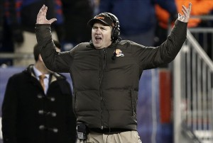 Dec 8, 2013; Foxborough, MA, USA; Cleveland Browns head coach Rob Chudzinski throws up his arms after pass interference was called on cornerback Leon McFadden during the fourth quarter of their 27-26 loss to the New England Patriots at Gillette Stadium. Mandatory Credit: Winslow Townson-USA TODAY Sports