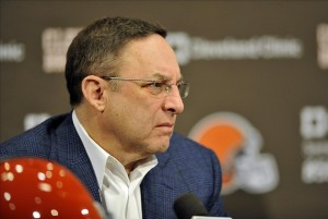 Jan 11, 2013; Berea, OH, USA; Cleveland Browns chief executive officer Joe Banner during a press conference at the team