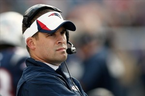 Oct 27, 2013; Foxborough, MA, USA; New England Patriots offensive coordinator Josh McDaniels looks on against the Miami Dolphins during the first quarter at Gillette Stadium. Mandatory Credit: Winslow Townson-USA TODAY Sports