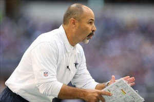 Nov 3, 2013; Arlington, TX, USA; Dallas Cowboys special teams coach rich Bisaccia on sidelines during the game against the Minnesota Vikings at AT