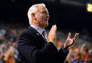 Oct 3, 2013; Cleveland, OH, USA; Cleveland Browns owner Jimmy Haslam on the sidelines during the second quarter against the Buffalo Bills at FirstEnergy Stadium. Mandatory Credit: Andrew Weber-USA TODAY Sports