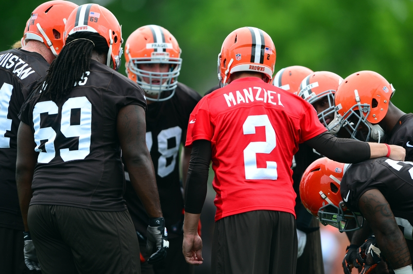 May 28, 2014; Berea, OH, USA; Cleveland Browns quarterback Johnny Manziel (2) huddles during organized team activities at Cleveland Browns training facility. Mandatory Credit: Andrew Weber-USA TODAY Sports