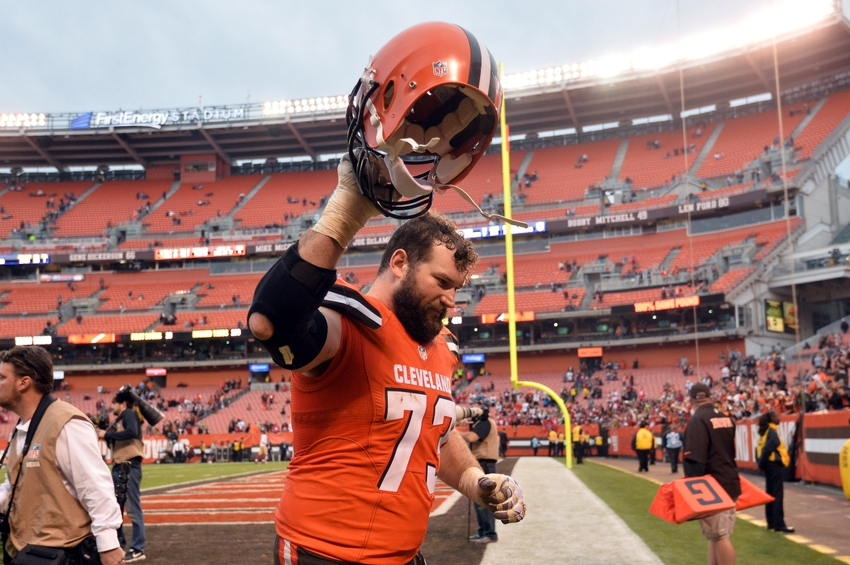 Dec 13, 2015; Cleveland, OH, USA; Cleveland Browns tackle Joe Thomas (73) leaves the field after the Cleveland Browns beat the San Francisco 49ers 24-10 at FirstEnergy Stadium. Mandatory Credit: Ken Blaze-USA TODAY Sports