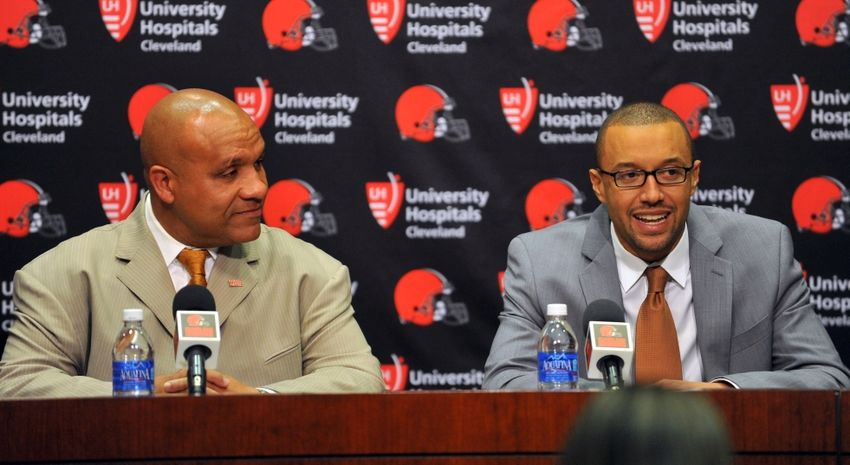 Jan 13, 2016; Berea, OH, USA; Cleveland Browns new head coach Hue Jackson (left) and Vice President of Football Operations Sashi Brown talk during a press conference at the Cleveland Browns training facility. Mandatory Credit: Ken Blaze-USA TODAY Sports