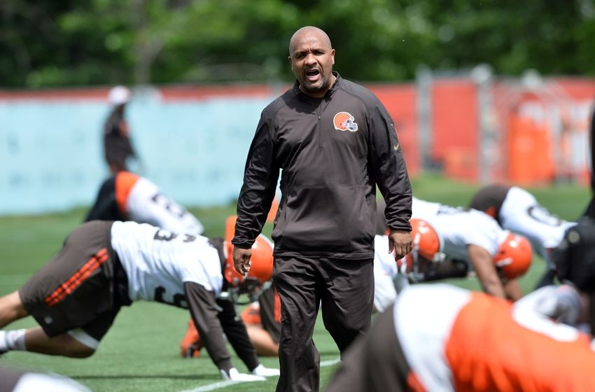 Jun 7, 2016; Berea, OH, USA; Cleveland Browns head coach Hue Jackson yells to the team during minicamp at the Cleveland Browns training facility. Mandatory Credit: Ken Blaze-USA TODAY Sports