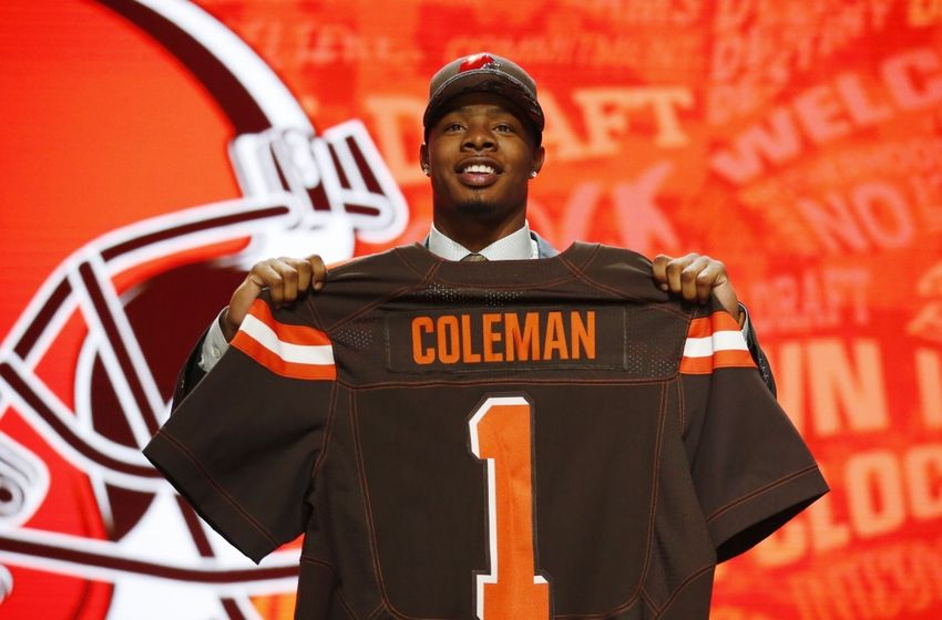 Apr 28, 2016; Chicago, IL, USA; Corey Coleman (Baylor) is selected by the Cleveland Browns as the number fifteen overall pick in the first round of the 2016 NFL Draft at Auditorium Theatre. Mandatory Credit: Kamil Krzaczynski-USA TODAY Sports