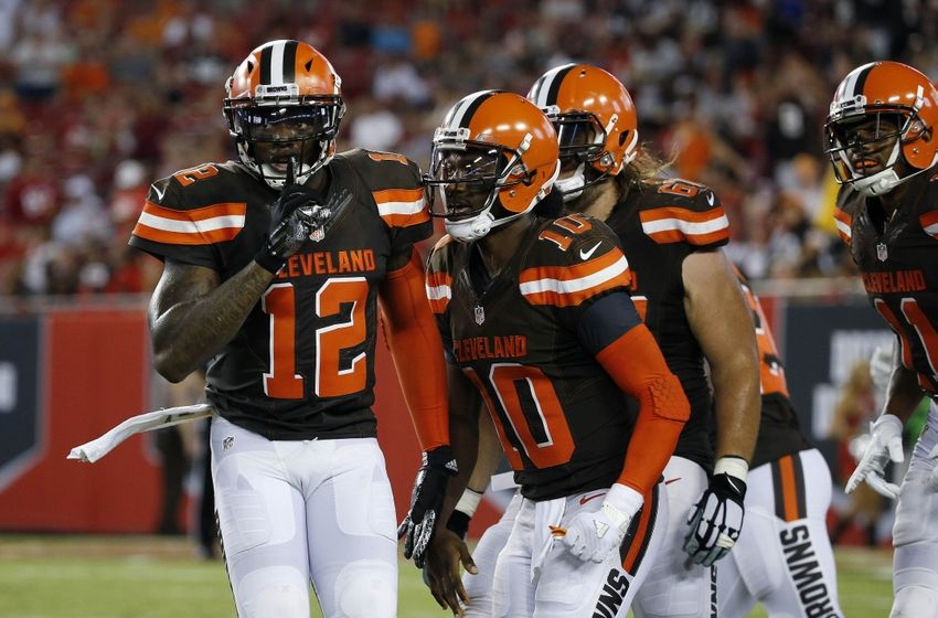 Aug 26, 2016; Tampa, FL, USA; Cleveland Browns wide receiver Josh Gordon (12) celebrates with quarterback Robert Griffin III (10) after he scored a touchdown against the Tampa Bay Buccaneers during the first half at Raymond James Stadium. Mandatory Credit: Kim Klement-USA TODAY Sports