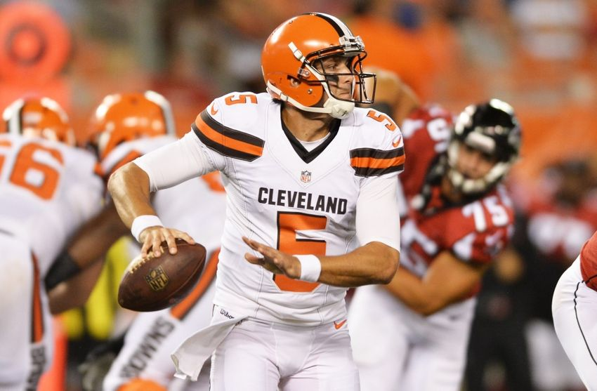 Aug 18, 2016; Cleveland, OH, USA; Cleveland Browns quarterback Cody Kessler (5) during the second half at FirstEnergy Stadium, the Atlanta Falcons defeated the Cleveland Browns 24-13. Mandatory Credit: Ken Blaze-USA TODAY Sports