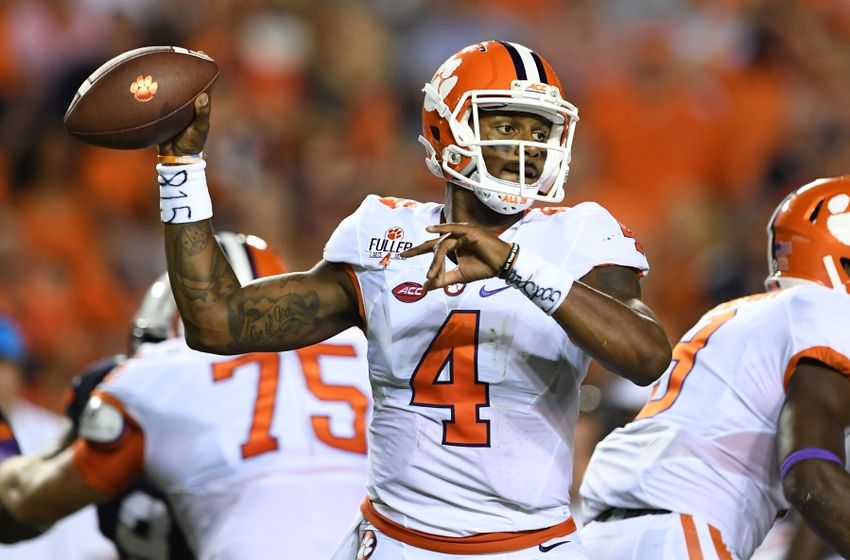 Sep 3, 2016; Auburn, AL, USA; Clemson Tigers quarterback Deshaun Watson (4) passes against the Auburn Tigers during the first quarter at Jordan Hare Stadium. Mandatory Credit: John David Mercer-USA TODAY Sports