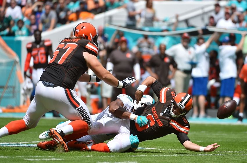 Sep 25, 2016; Miami Gardens, FL, USA; Miami Dolphins defensive end Cameron Wake (91) forces a Cleveland Browns quarterback Cody Kessler (6) to fumble the ball during the first half at Hard Rock Stadium. Mandatory Credit: Jasen Vinlove-USA TODAY Sports