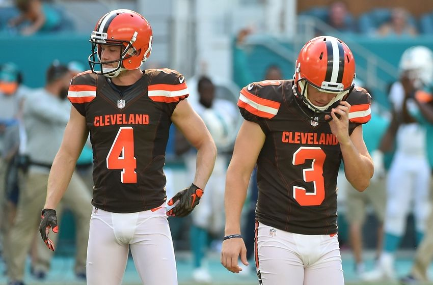 Sep 25, 2016; Miami Gardens, FL, USA; Cleveland Browns kicker Cody Parkey (3) reacts after missing a field goal during the second half against the Miami Dolphins at Hard Rock Stadium.The Miami Dolphins defeat the Cleveland Browns 34-20 in overtime. Mandatory Credit: Jasen Vinlove-USA TODAY Sports