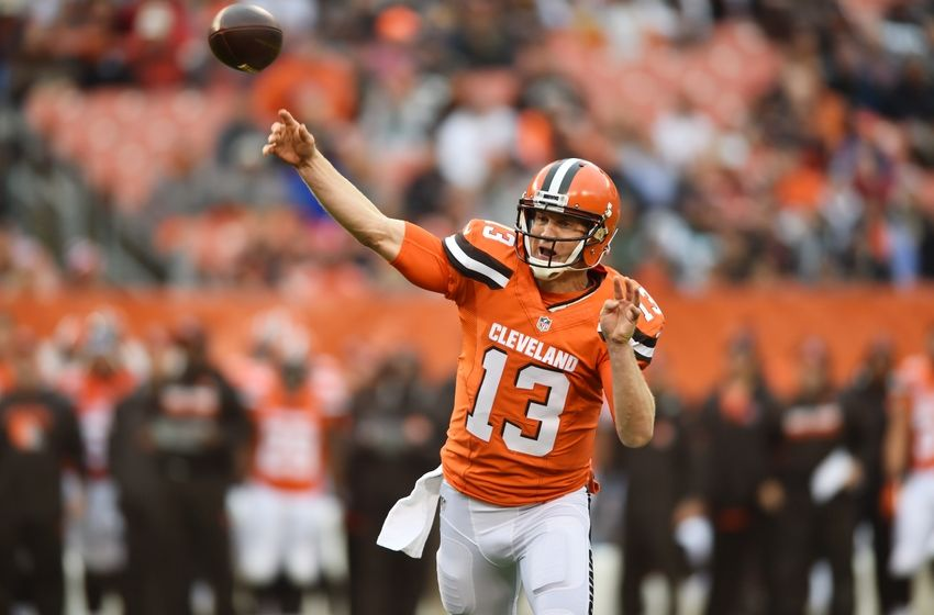 Oct 30, 2016; Cleveland, OH, USA; Cleveland Browns quarterback Josh McCown (13) throws a pass during the first quarter against the New York Jets at FirstEnergy Stadium. Mandatory Credit: Ken Blaze-USA TODAY Sports
