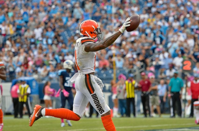 Oct 16, 2016; Nashville, TN, USA; Cleveland Browns wide receiver Terrelle  Pryor (11) spikes the ball after scores a touchdown against the Tennessee Titans during the second half at Nissan Stadium. Tennessee won 28-26. Mandatory Credit: <a rel=
