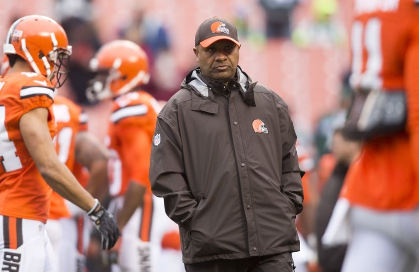 Oct 30, 2016; Cleveland, OH, USA; Cleveland Browns head coach Hue Jackson watches warmups before a game against the New York Jets at FirstEnergy Stadium. Mandatory Credit: Scott R. Galvin-USA TODAY Sports