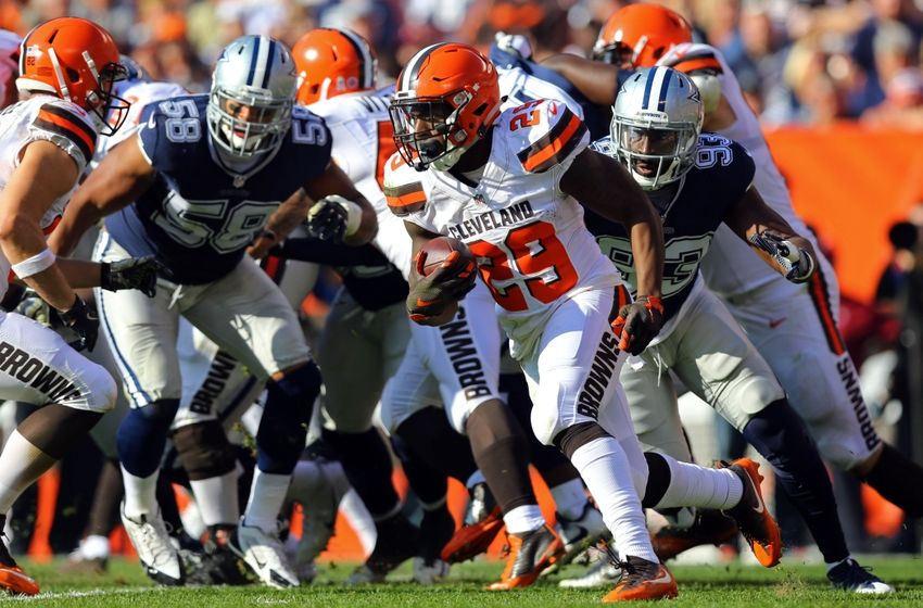 Nov 6, 2016; Cleveland, OH, USA; Cleveland Browns running back Duke Johnson (29) carries the ball against the Dallas Cowboys in the first half at FirstEnergy Stadium. Mandatory Credit: Aaron Doster-USA TODAY Sports