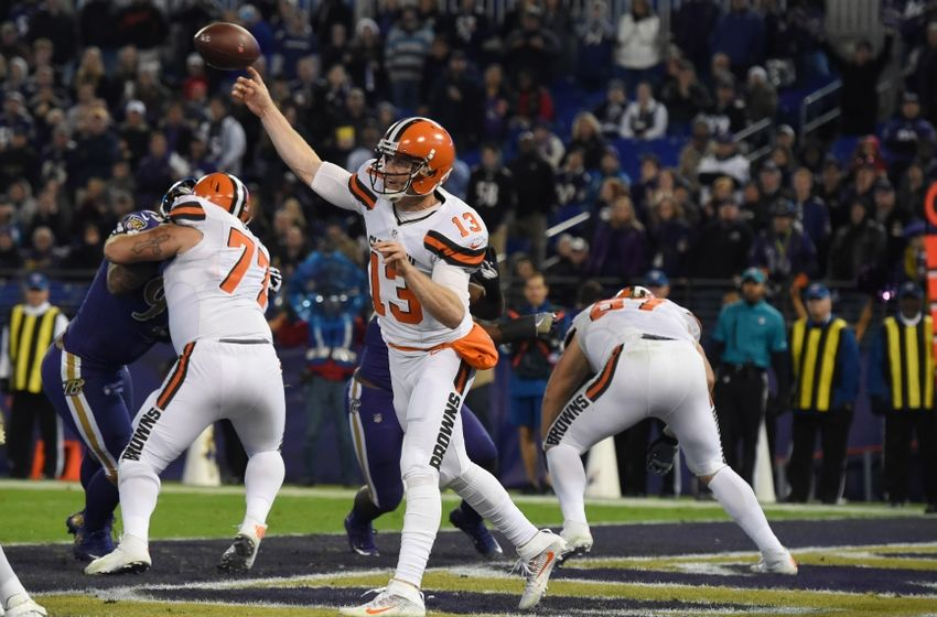 Nov 10, 2016; Baltimore, MD, USA; Cleveland Browns quarterback Josh McCown (13) throws throws during the fourth quarter against the Baltimore Ravens at M&T Bank Stadium. Baltimore Ravens defeated Cleveland Browns 28-7. Mandatory Credit: Tommy Gilligan-USA TODAY Sports