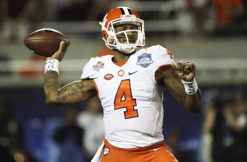 Dec 3, 2016; Orlando, FL, USA; Clemson Tigers quarterback Deshaun Watson (4) throws the ball in the second half against the Virginia Tech Hokies during the ACC Championship college football game at Camping World Stadium. Clemson Tigers won 42-35. Mandatory Credit: Logan Bowles-USA TODAY Sports