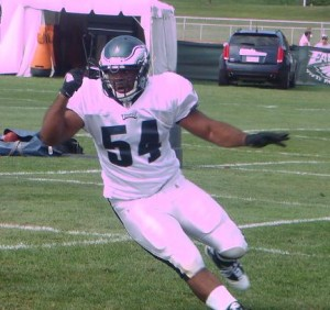 Eagles defensive end Brandon Graham breaks free during one-on-ones.
