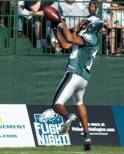 Eagles wide receiver DeSean Jackson makes a catch during practice on August 7. (Photo: Ryan Messick)