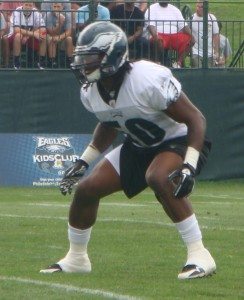 Eagles weakside linebacker Ernie Sims during practice.