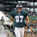 Eagles tight end Brent Celek heads onto the field.