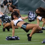 Philadelphia Eagles cheerleaders dance at the beginning of Flight Night.