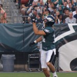 Eagles WR Riley Cooper prepares to make a one handed catch.