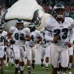 The Eagles backups on the defensive side of the ball make their entrance.