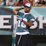 Injured Eagles WR DeSean Jackson playing catch during Flight Night.