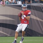 Eagles quarterback Kevin Kolb drops back to pass on Flight Night.