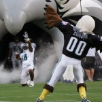 Eagles defensive end Trent Cole makes his entrance with the assistance of Swoop.