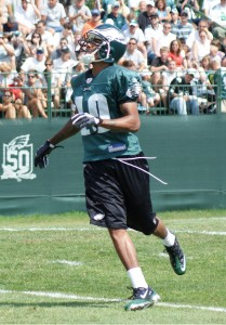 DeSean Jackson prepares to field a punt during practice on August 7, 2010.