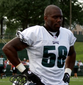 Eagles defensive end Trent Cole on the practice field.