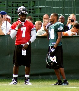 Eagles wide receiver DeSean Jackson chats with quarterback Michael Vick during his return to the practice field.