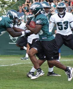 LeSean McCoy (seen here in yesterday's practice) broke a couple of nice runs this morning. (Photo: Ryan Messick)