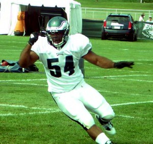 Eagles defensive end Brandon Graham breaks free during one-on-ones on August 4, 2010..