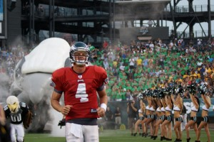 Eagles quarterback Kevin Kolb takes the field on Flight Night.