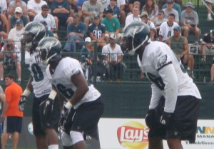 The Eagles top linebacking trio today was Ernie Sims, Omar Gaither and Akeem Jordan.