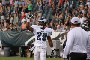 Eagles rookie safety Nate Allen during group installs with the defense on Flight Night (Photo: Ryan Messick).