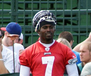 Michael Vick, shown here during training camp, threw a few passes at practice today.